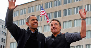 MADISON, WI - NOVEMBER 05:  U.S. President Barack Obama and rocker Bruce Springsteen wave to a crowd of 18,000 people during a rally on the last day of campaigning in the general election November 5, 2012 in Madison, Wisconsin. Obama and his opponent, Republican presidential nominee and former Massachusetts Gov. Mitt Romney are stumping from one 'swing state' to the next in a last-minute rush to persuade undecided voters.  (Photo by Chip Somodevilla/Getty Images)